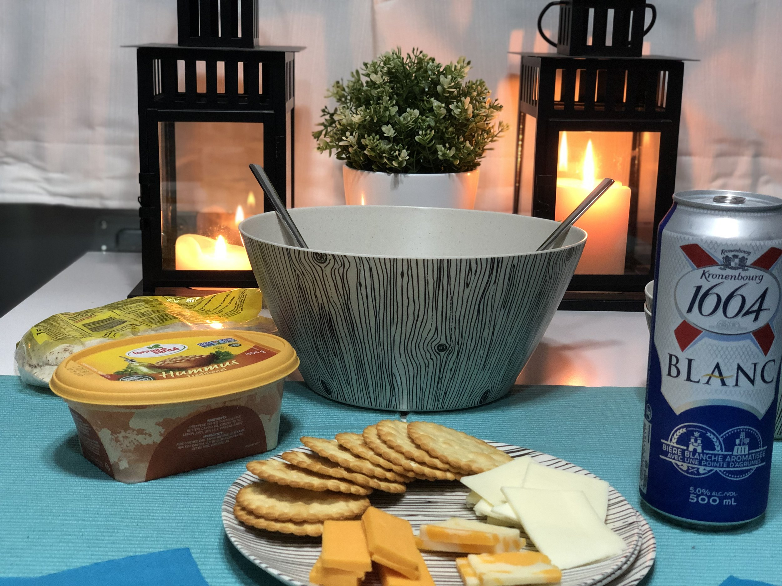 snacks, salad and beer… A great camping dinner!
