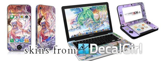Decal Girl Skins At Decalgirl you can find Meredith's art on vinyl skins for almost any electronic device including laptops, phones, and game systems. Skins are easy to a apply and remove with no sticky residue.  •  Phone and Computer skins from Decalgirl    •  More images for CUSTOM SKINS