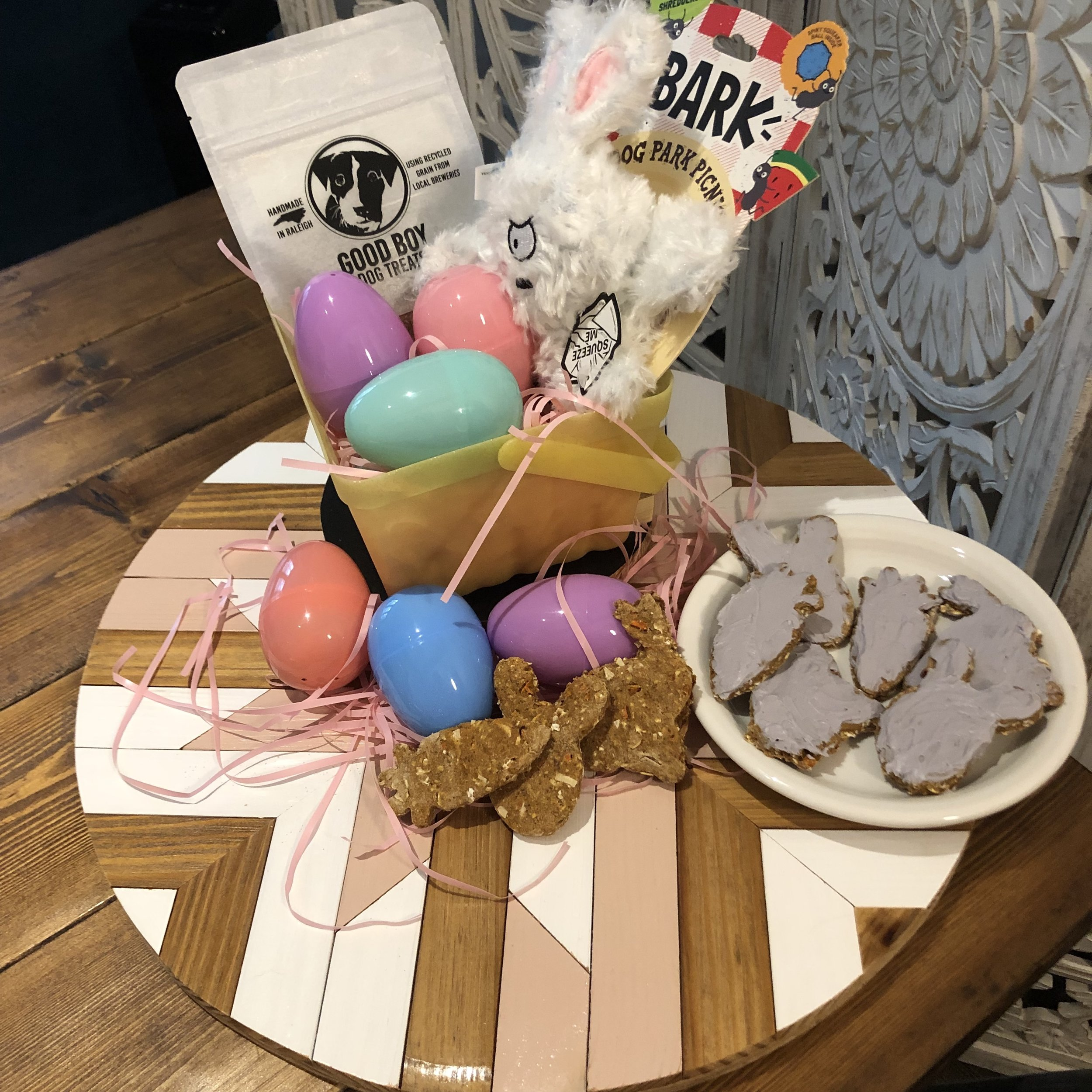 Easter Basket Perfection!! Iced Cookies Handmade by Mom, Treats Galore, with Bocces & Good Boy inside the Eggs, and Toy to top it off!