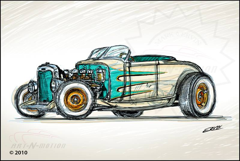 "Hot Rod Roadster  (8x10-004)  8 x 10"" includes white framing border"