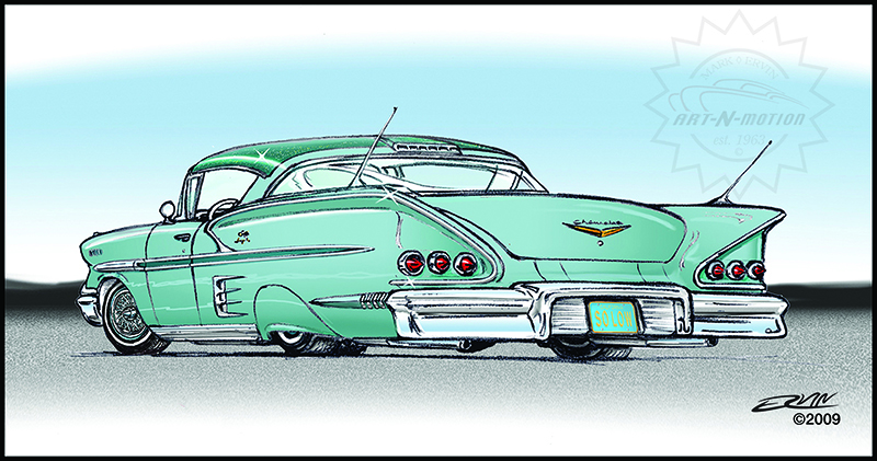 "'58 Impala, Mild Custom  (8x10-016)  8 x 10"" includes white framing border"
