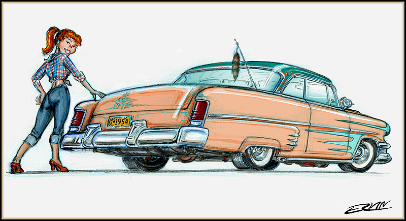 "Del Rearo: '54 Merc  (11x14-008)  11 x 14"" includes white framing border ( four  left)"