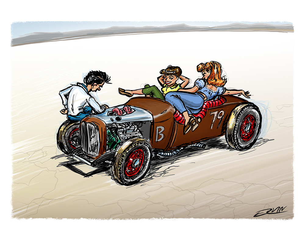 "A Roadster: El Mirage c1948  (11x14-011)  11 x 14"" includes white framing border ( seven  left)"