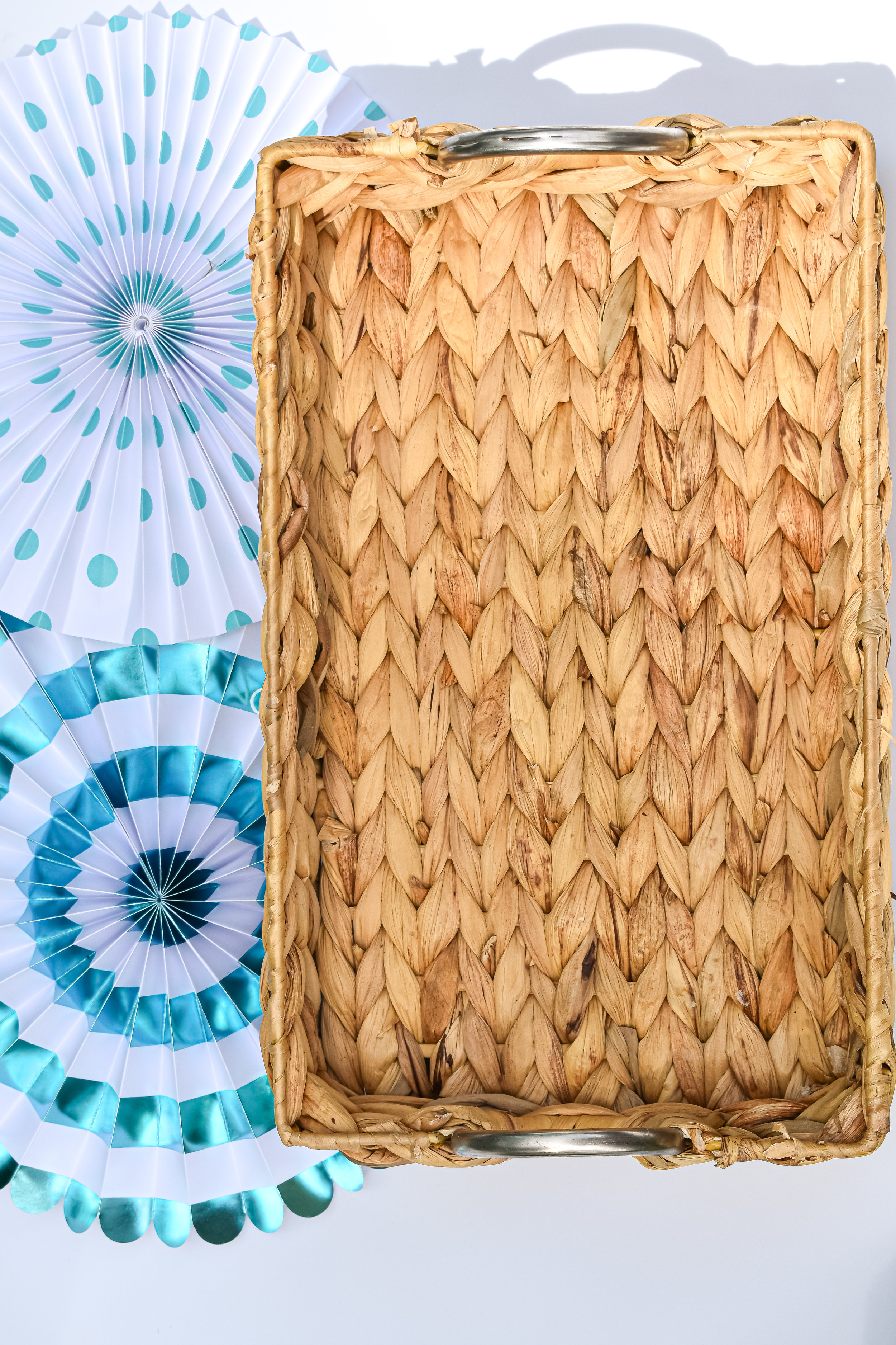 Woven Tray:  Home Goods  Party Fans (set of 3):  Walmart- Similar here
