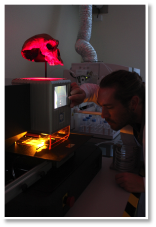 Laser ablation Instrument NW213 from ESI, during the elemental mapping of fossil teeth - (credit R. Joannes-Boyau)