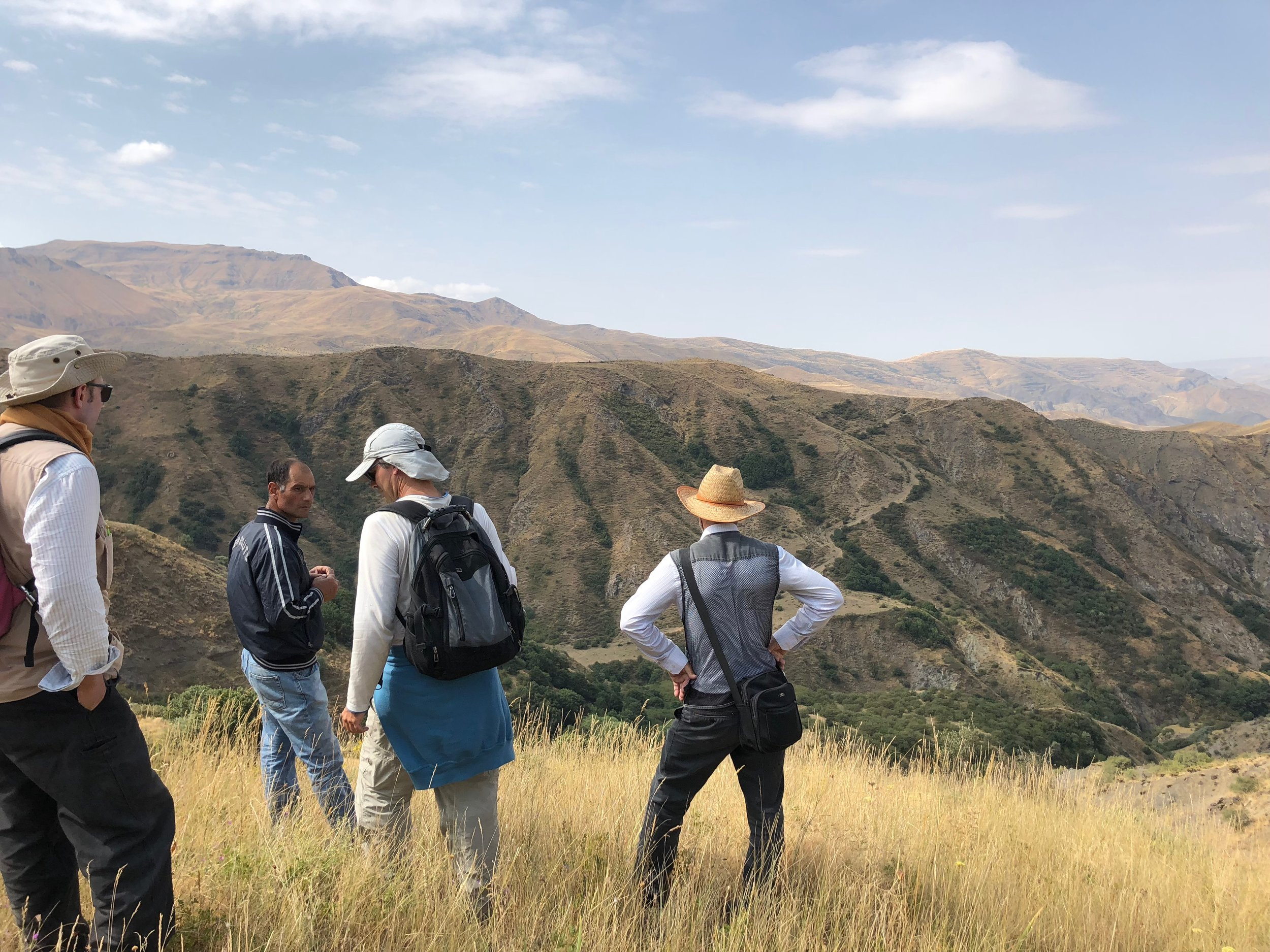 The team conducting a survey in Nakhchivan, August 2018.  Photo: M. Orange.