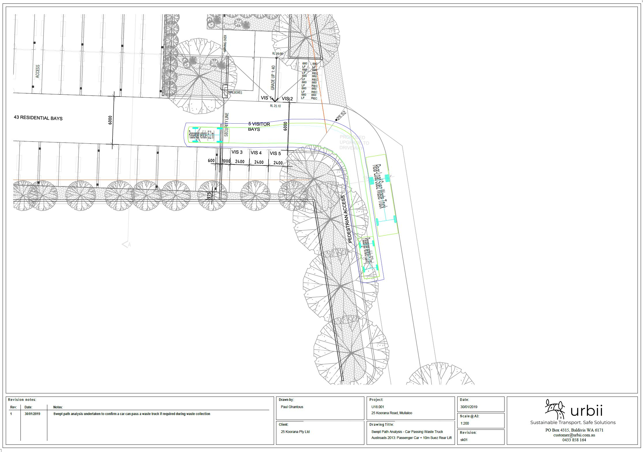 Example of swept path analysis for the project