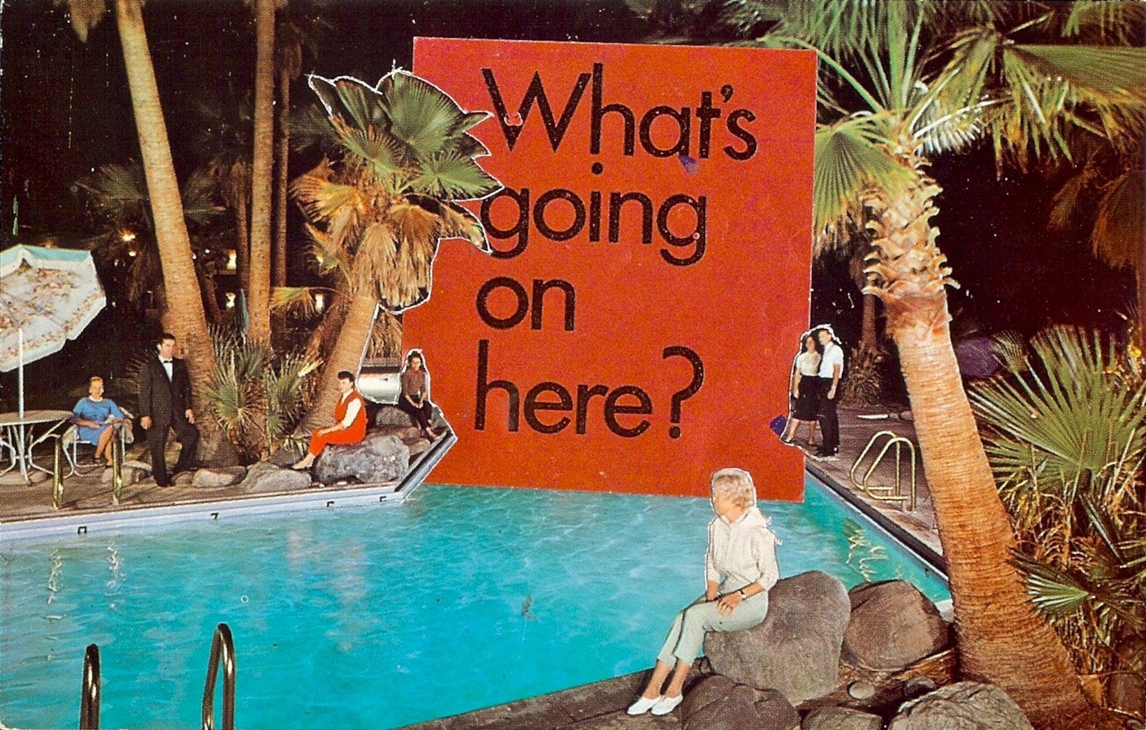 Strange Pool Party,     Vintage Postcard Re-Imagined