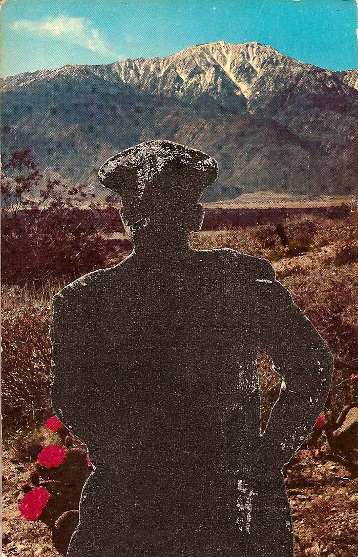 Desert Shadow Cop ,  Vintage Postcard Re-Imagined