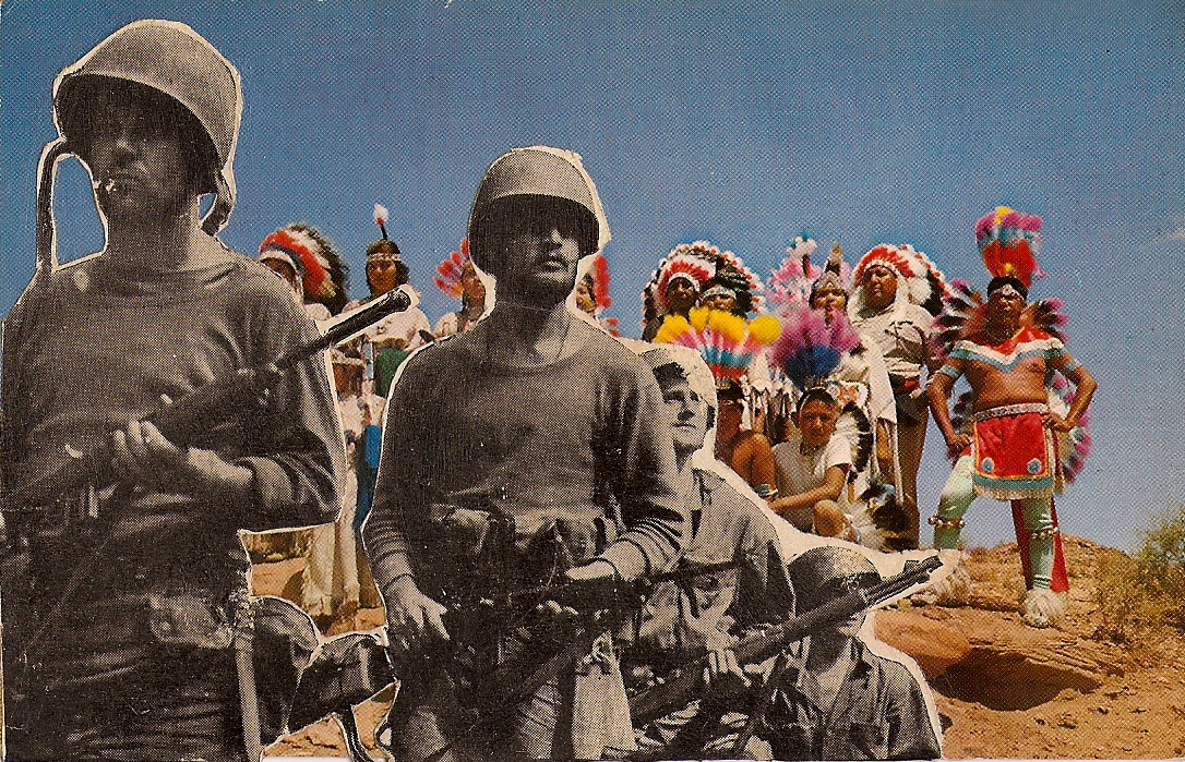 Warriors and Soldiers ,  Vintage Postcard Re-Imagined
