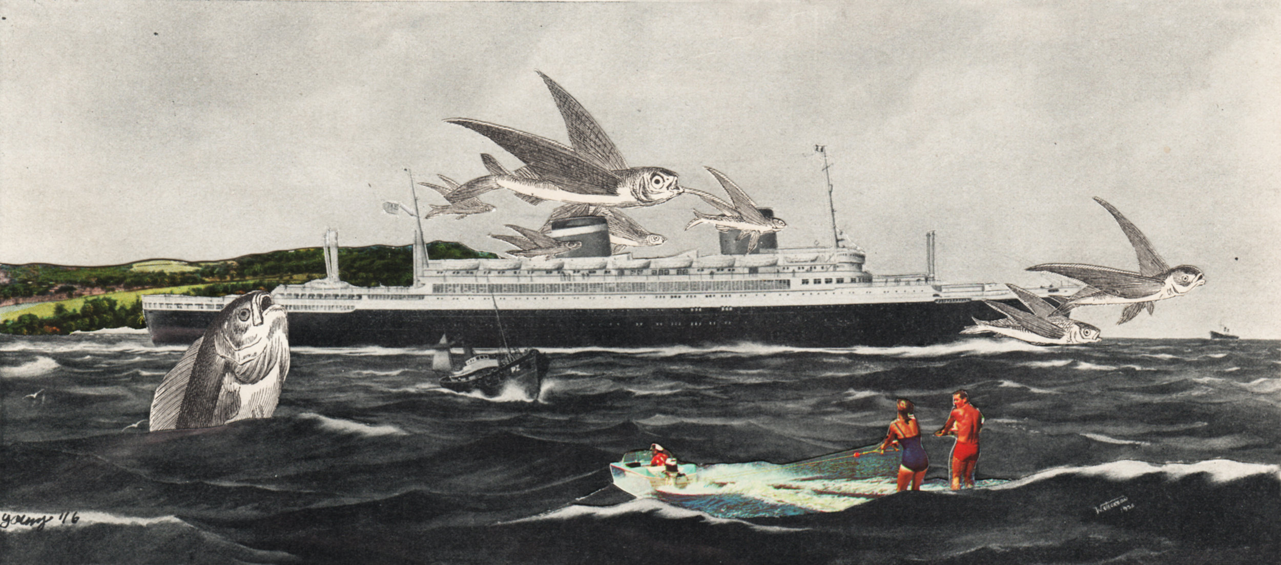 Imaginary Cruise,   2016. Analog Collage on paper