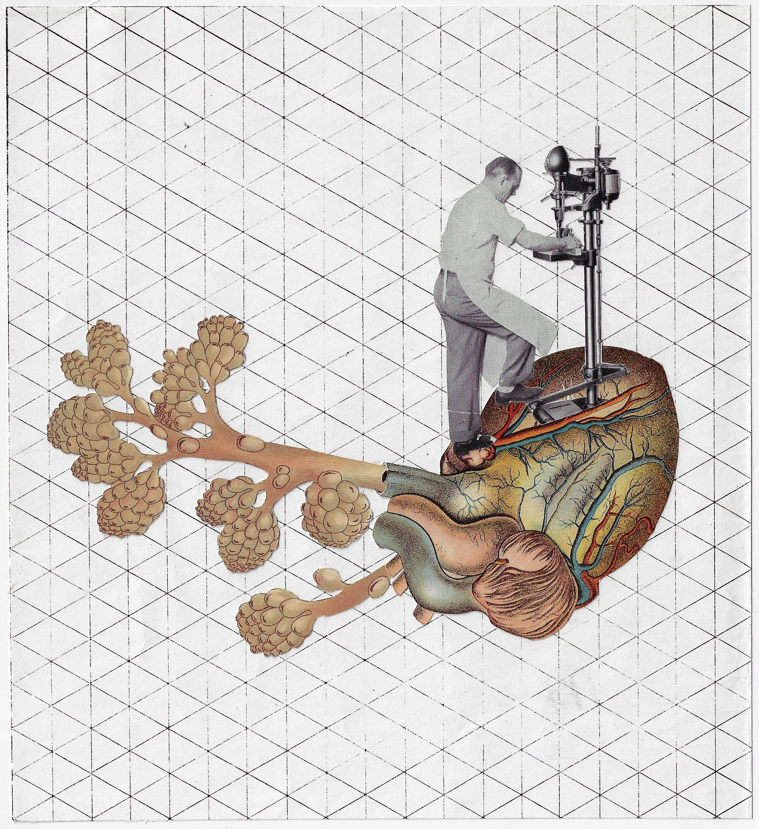 Drilling Down to the Heart of the Matter,   2018. Analog Collage on paper.