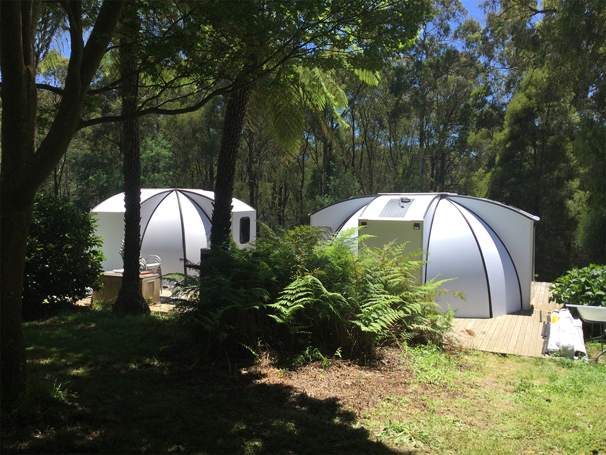 Safe and Solid - The FlexDome is wind- and waterproof, as well as flame resistant. Ventilation and natural light are supplemented with LED lights. Additional solar cells are available.