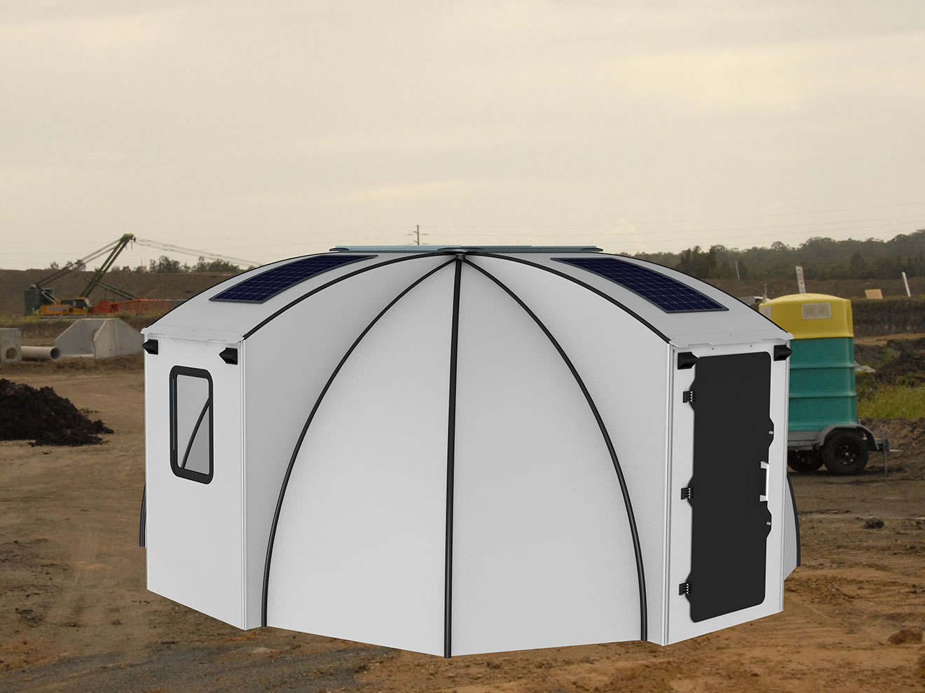 Safe and Solid - The FlexDome provides a solid structure that is wind- and waterproof, as well as flame resistant. Ventilation and natural light are supplemented with LED lights. Additional solar cells are available.