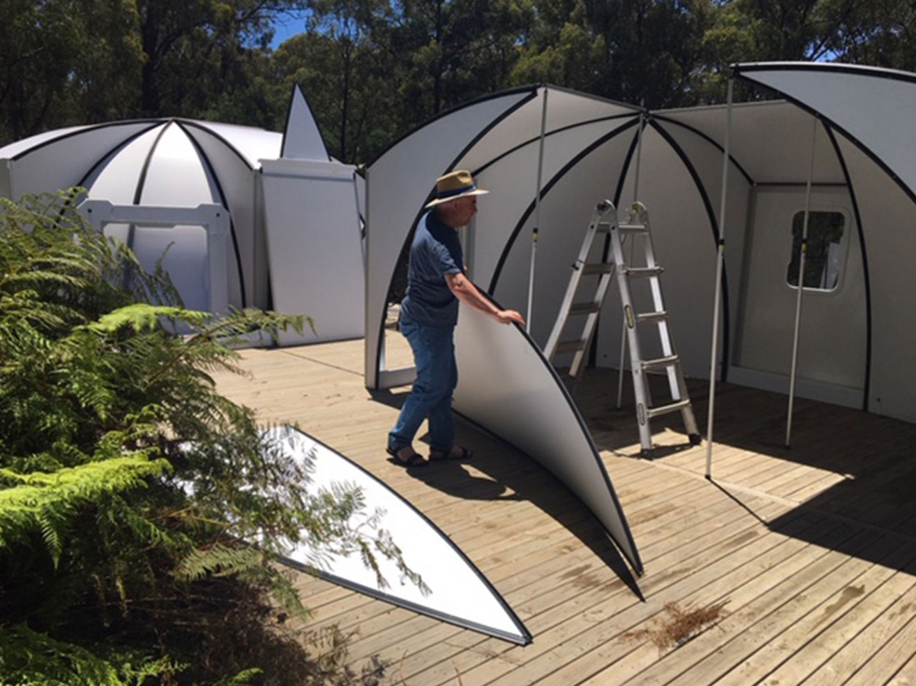 Instant - The basic 16 square meter dome can easily be assembled by 2 people in 2 hours. It only requires a level surface to be erected anywhere you go!