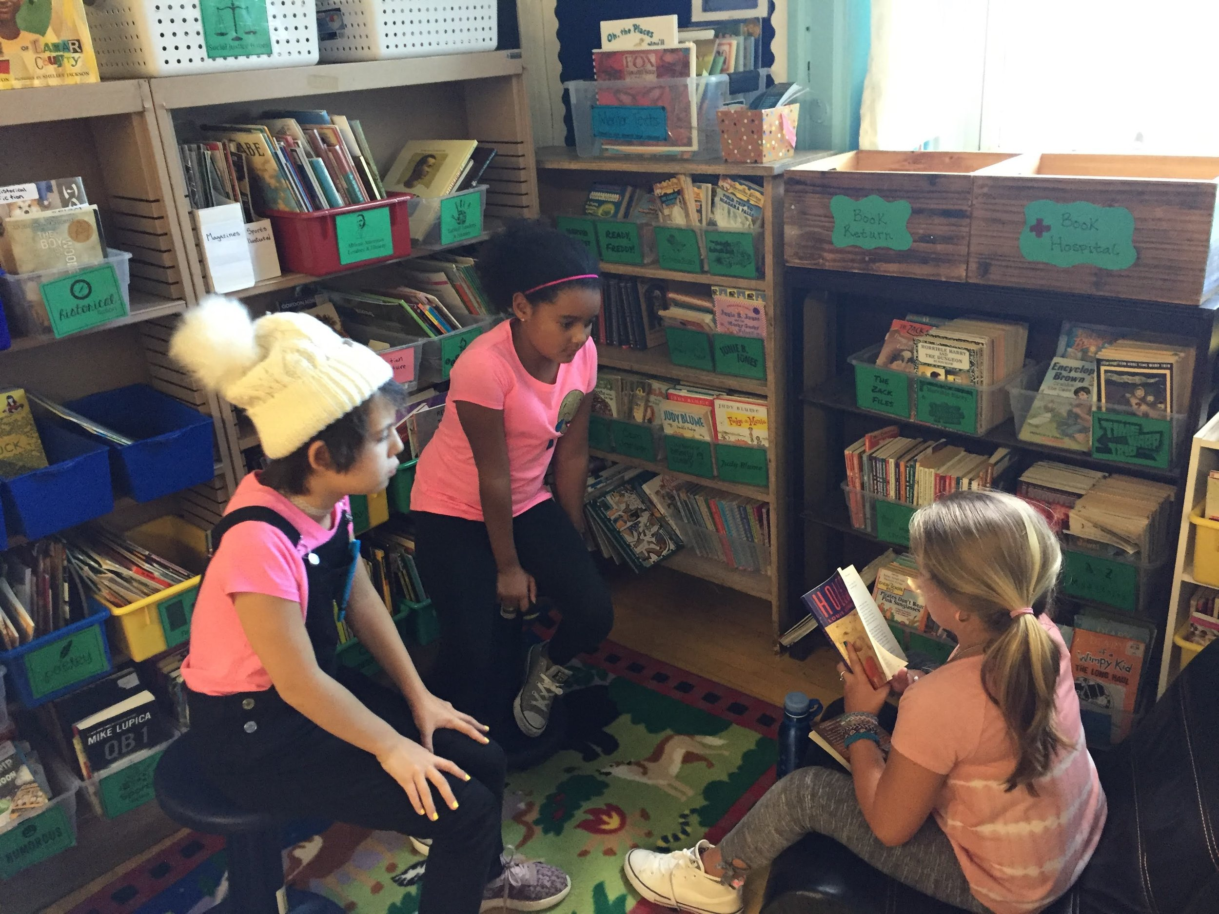 Students reading in the library.