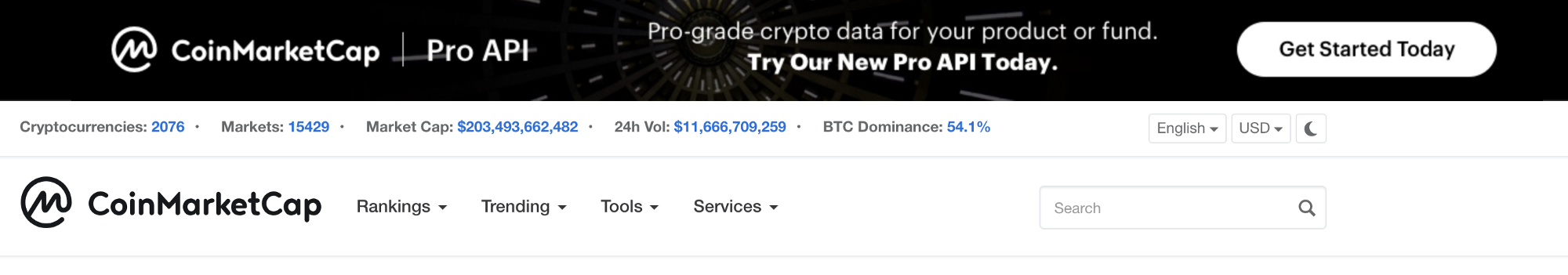 Image 7: Top banner on CoinMarketCap promoting in-house product, the Pro API