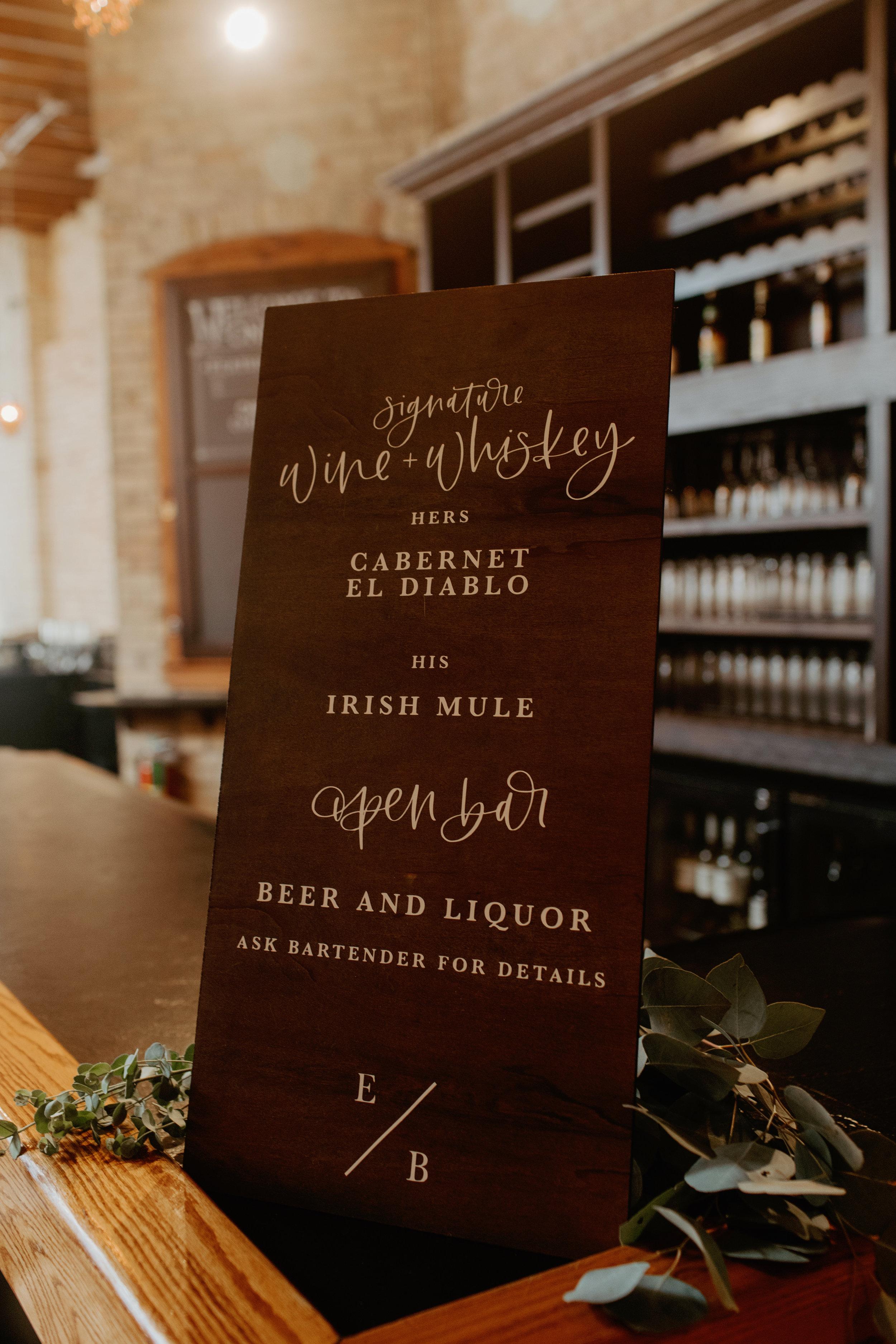 Emma and Buster Elopement - Bar Menu Sign - by Nikki Kate Photography.jpg