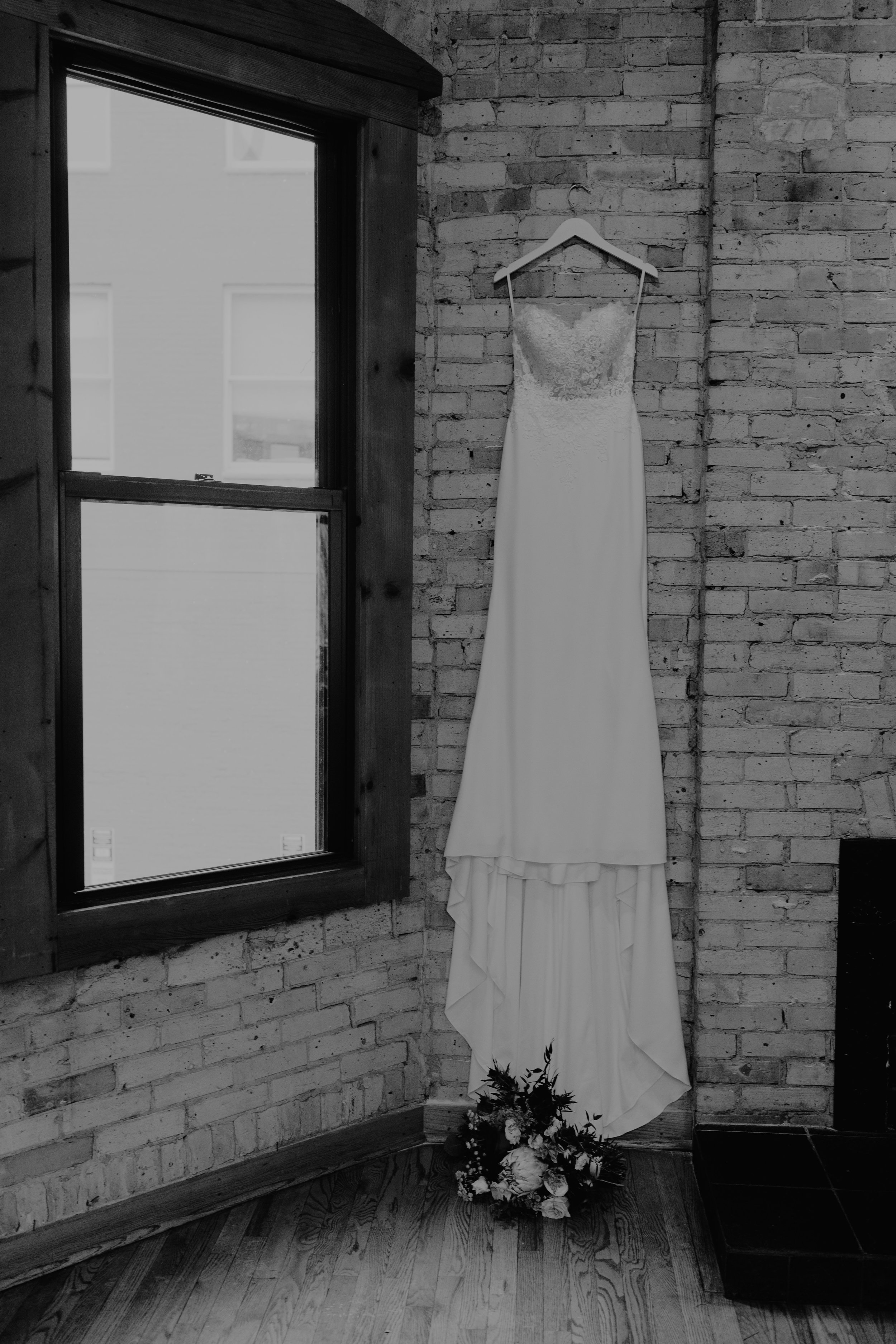 Emma and Buster Elopement - Dress Close Up Black and White - by Nikki Kate Photography.jpg