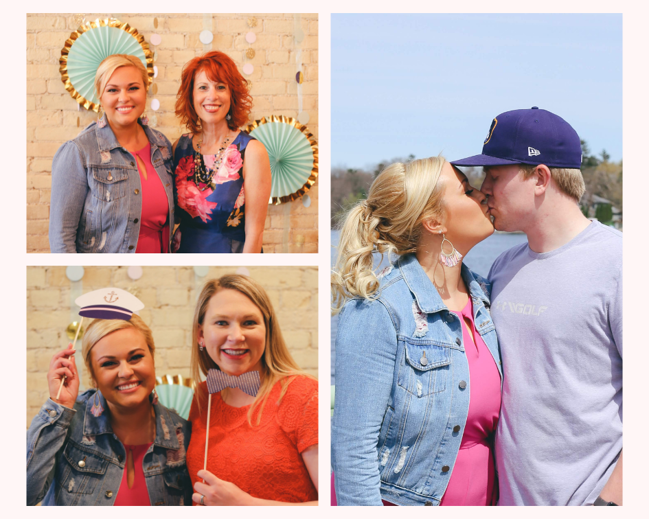 Nautical Bridal Shower at Vino Etcetera in Oconomowoc Wisconsin - The Bride with Her Mom, Fiance, and Maid of Honor
