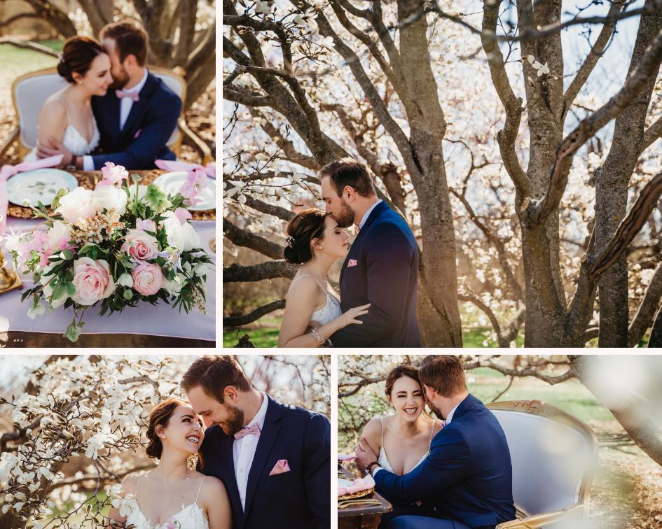 Bride and Groom Photos - Spring Wedding at the UW Madison Arboretum in Madison Wisconsin - Phoenix & Rose Photography