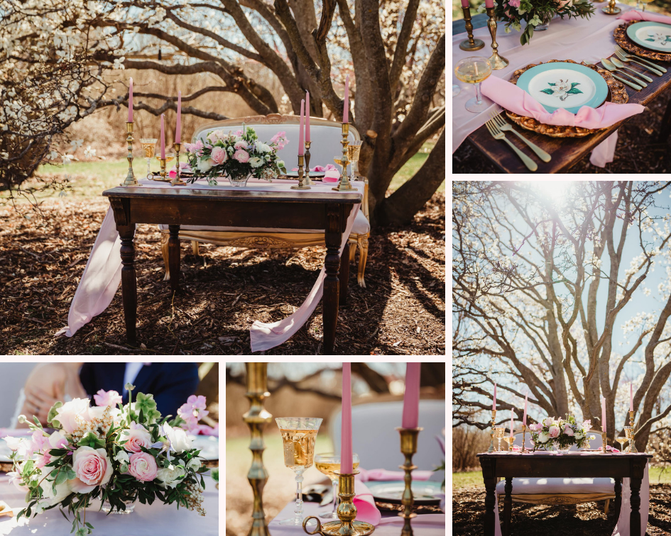 Blush and White Sweetheart Table Details - Spring Wedding at the UW Madison Arboretum in Madison Wisconsin - Phoenix & Rose Photography