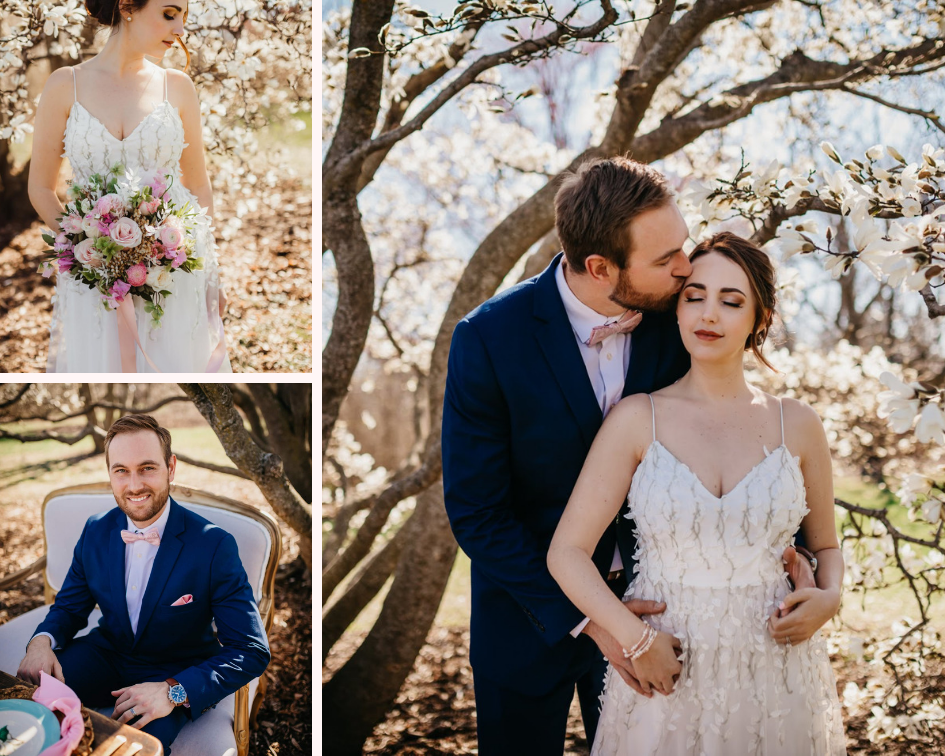 Bride in a Floral Wedding Dress and Groom in a Navy Blue Suit  - Spring Wedding at the UW Madison Arboretum in Madison Wisconsin - Phoenix & Rose Photography