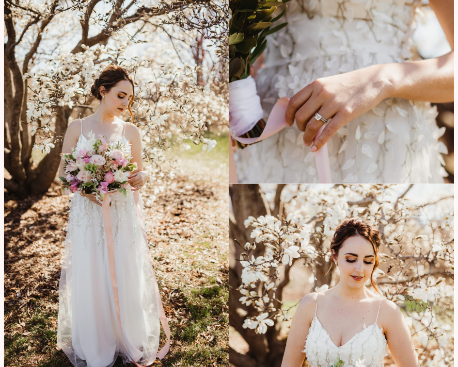 Bride in a Floral Wedding Dress with her Bridal Bouquet - Spring Wedding at the UW Madison Arboretum in Madison Wisconsin - Phoenix & Rose Photography