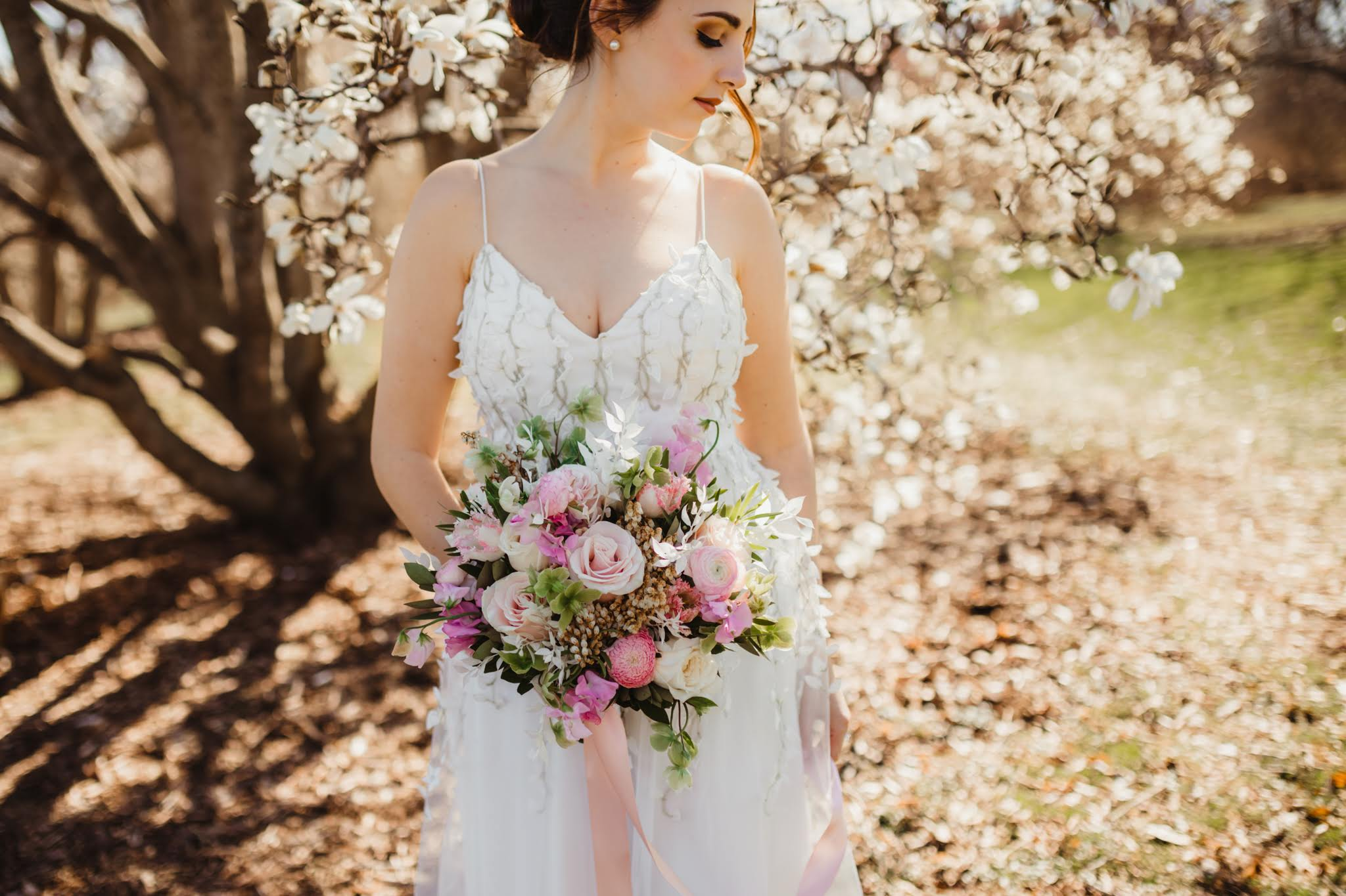 Bride in a Floral Wedding Dress - Spring Wedding at the UW Madison Arboretum in Madison Wisconsin - Phoenix & Rose Photography