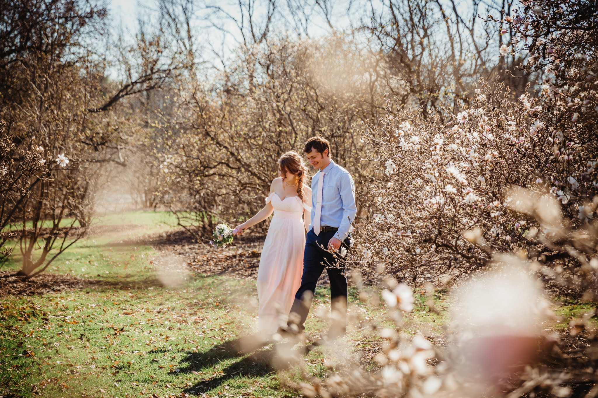 Blush Bridesmaid Dress - Spring Wedding at the UW Madison Arboretum in Madison Wisconsin - Phoenix & Rose Photography