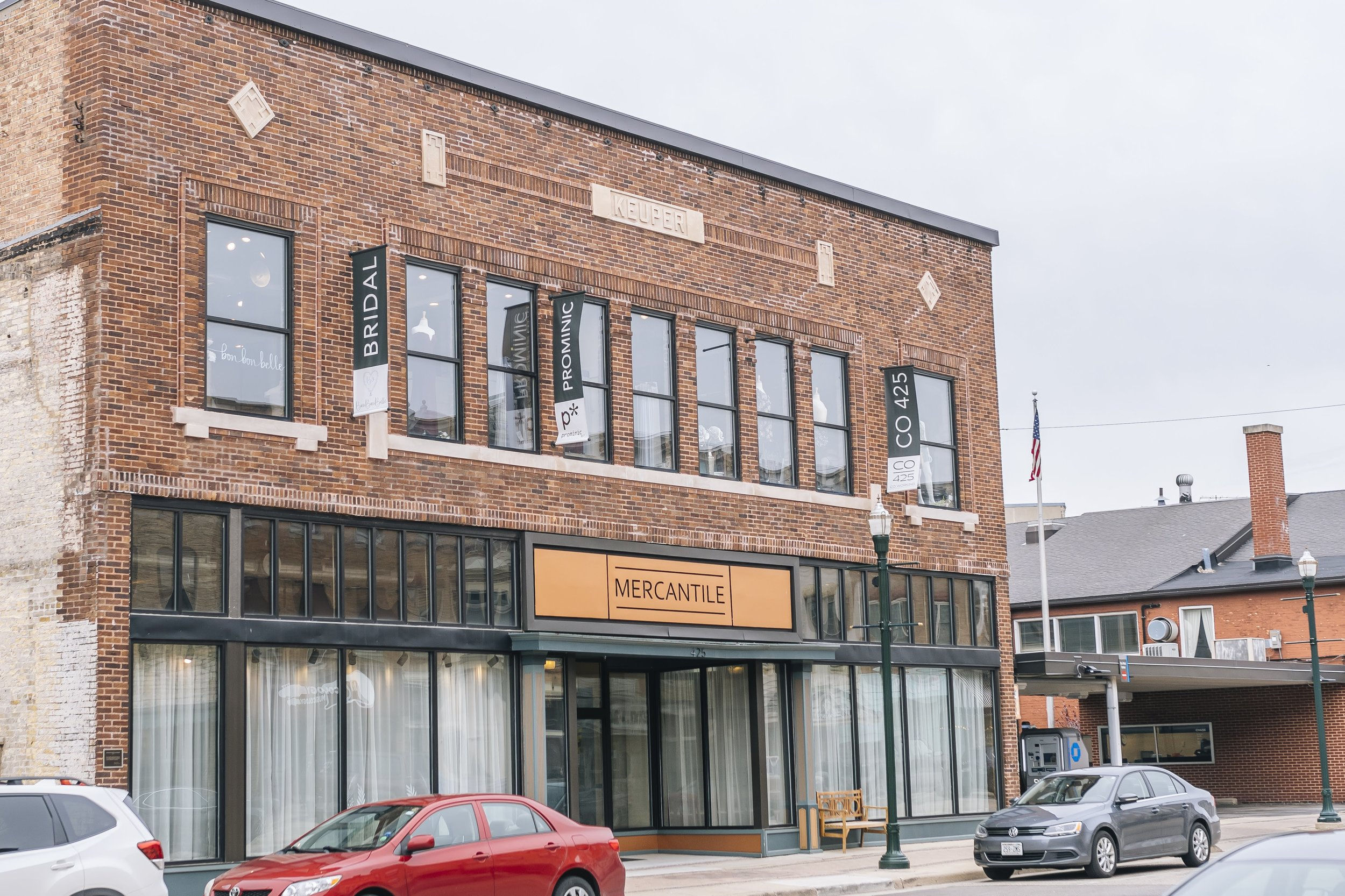 Photo of the outside of Mercantile Hall, an urban meets small town wedding venue in Burlington, Wisconsin