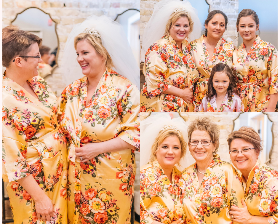Bride and her girls in silk floral getting ready robes at Mercantile Hall in Wisconsin