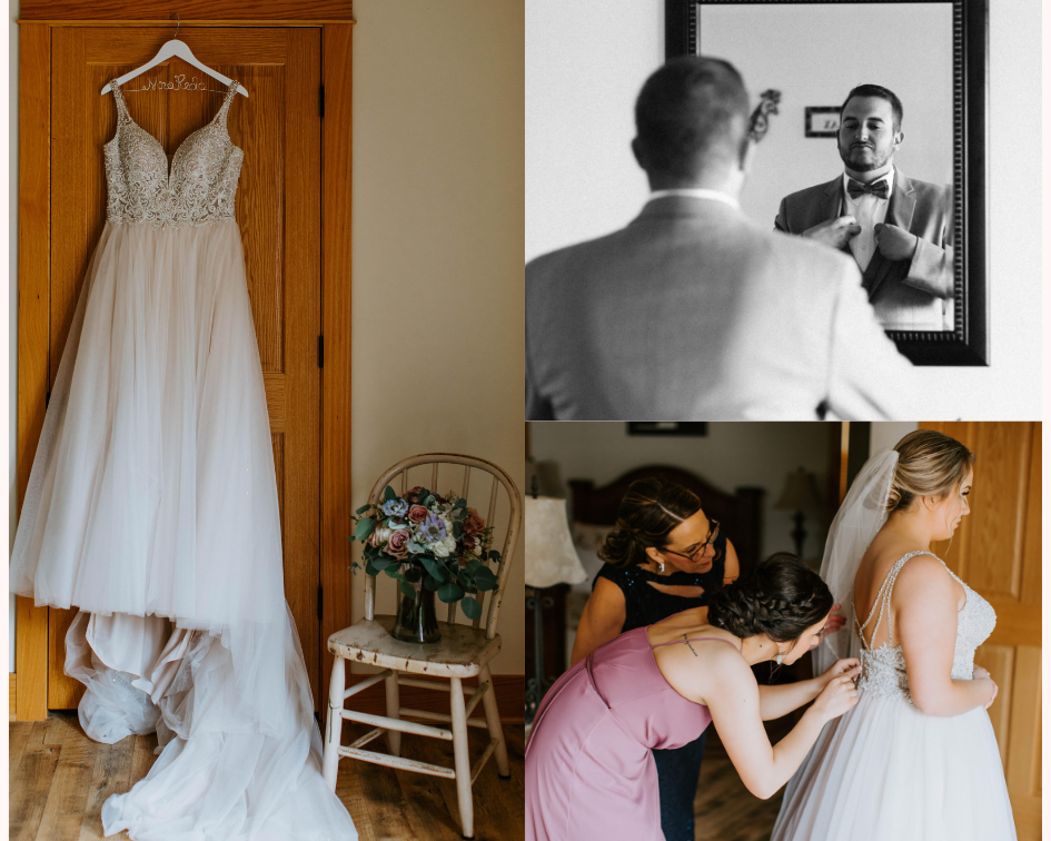 Bride getting into her dress from a wedding at Lake Orchard Farm Retreat in Sheboygan, Wisconsin - Photo by Kaley Rae Photography.png