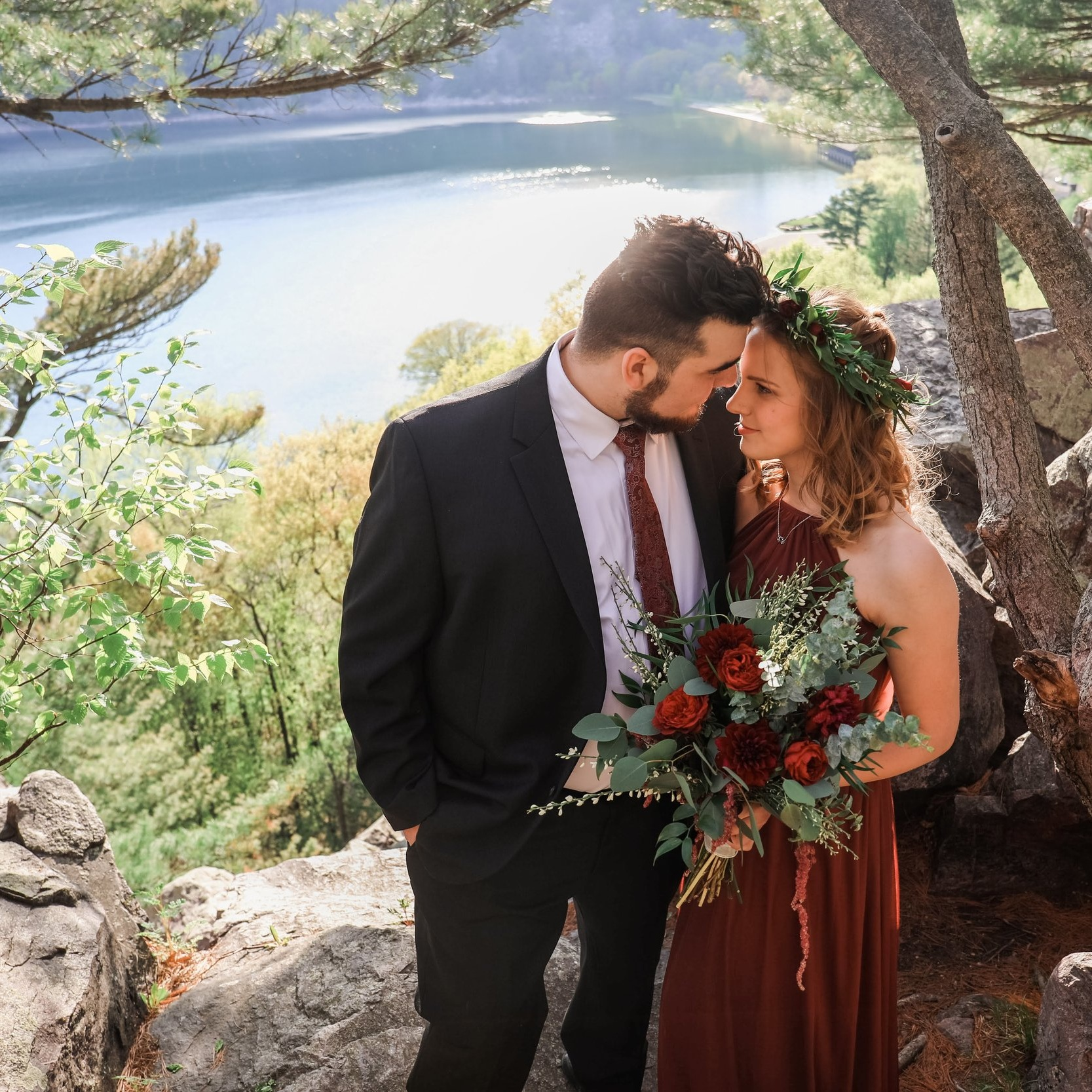 Bride and groom after their elopment on a cliff in Devils Lake State Park in Baraboo Wisconsin - Milwaukee and Wisconsin Micro Wedding Planned by Natural Elegance LLC - Photo by Memory Lane Photography.jpg