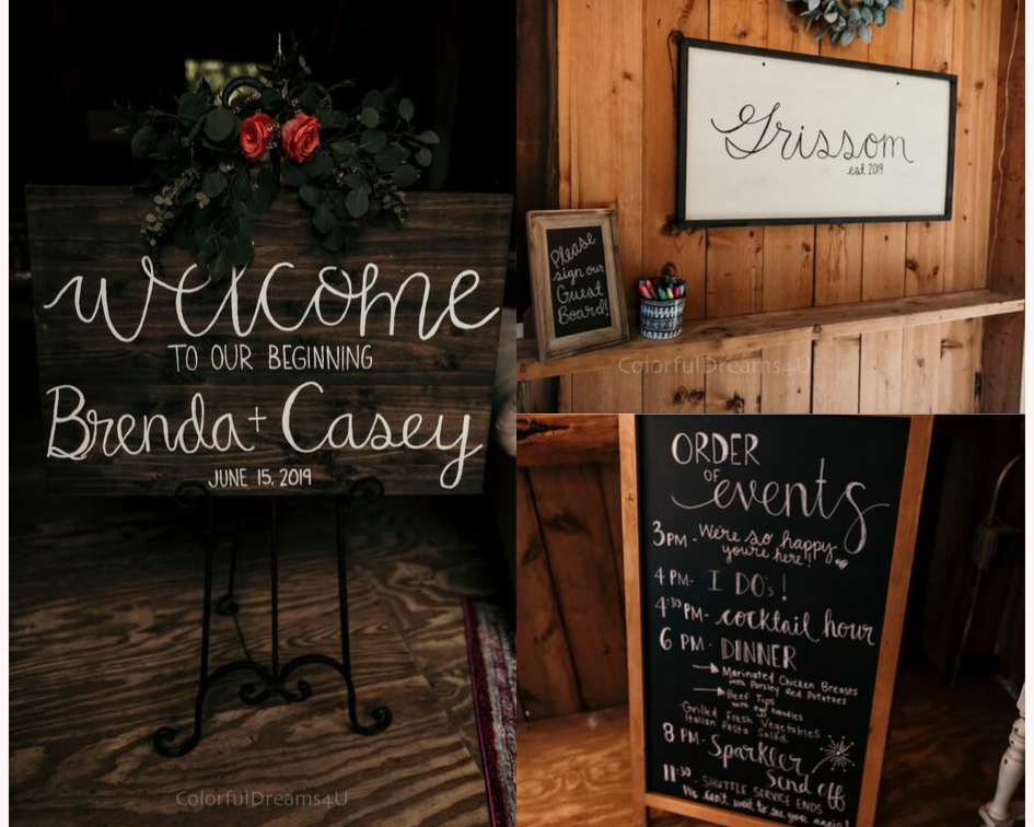 Wedding welcome sign, guest book, and order of events sign at a June backyard intimate summer wedding in Hubertus Wisconsin - Planned by Natural Elegance LLC - Photo by Colorful Dreams 4U.png