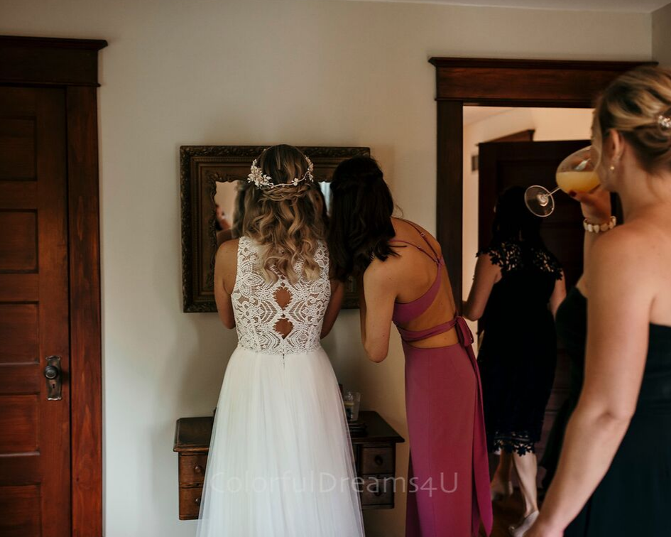 Bride getting ready with her girls at her June backyard intimate summer wedding in Hubertus Wisconsin - Planned by Natural Elegance LLC - Photo by Colorful Dreams 4U.png