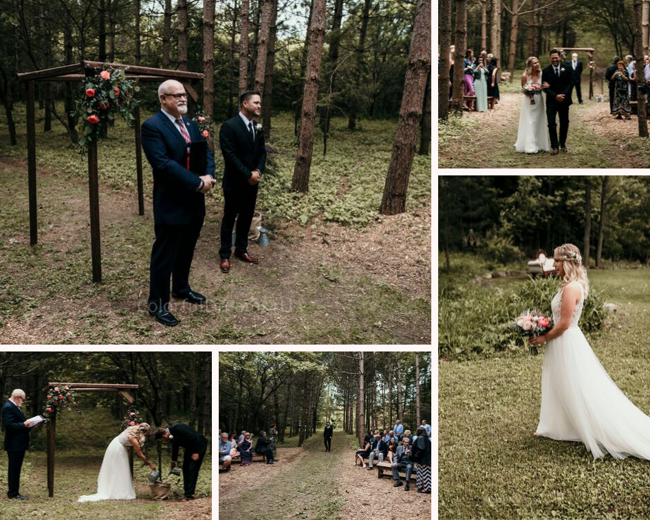 Intimate wedding ceremony tucked in the woods at a June backyard intimate summer wedding in Hubertus Wisconsin - Planned by Natural Elegance LLC - Photo by Colorful Dreams 4U.png