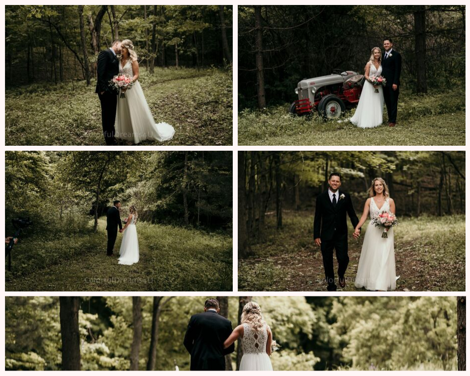 Bride and groom wedding portraits in the woods from their June backyard intimate summer wedding in Hubertus Wisconsin - Planned by Natural Elegance LLC - Photo by Colorful Dreams 4U.png
