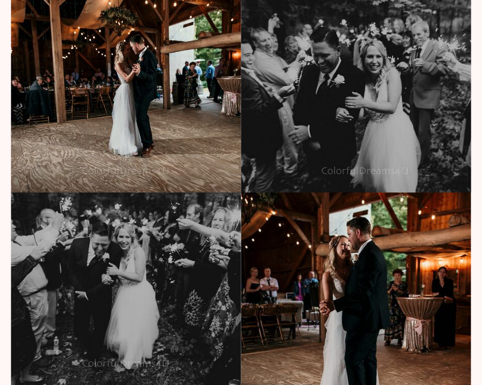 Bride and groom first dance and sparkler send off at their June backyard intimate summer wedding in Hubertus Wisconsin - Planned by Natural Elegance LLC - Photo by Colorful Dreams 4U.png