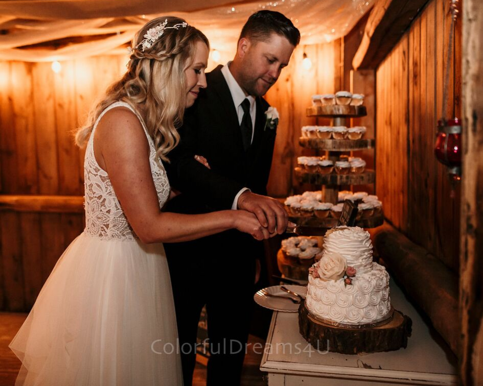 Bride and groom cutting their cake at their June backyard intimate summer wedding in Hubertus Wisconsin - Planned by Natural Elegance LLC - Photo by Colorful Dreams 4U.png