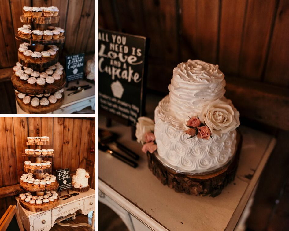 Rustic white and light pink wedding cake and wedding cupcakes at a June backyard intimate summer wedding in Hubertus Wisconsin - Planned by Natural Elegance LLC - Photo by Colorful Dreams 4U.png