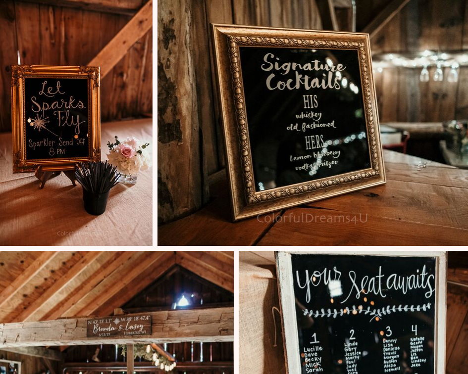 Wedding signage - Sparkler send off, bar menu, seating chart signs at a June backyard intimate summer wedding in Hubertus Wisconsin - Planned by Natural Elegance LLC - Photo by Colorful Dreams 4U.png