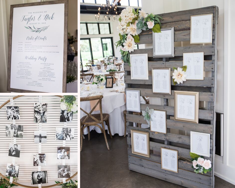 4.5 lake country wedding at the carriage house at lac labelle in oconomowoc wisconsin - planned by natural elegance llc - photo by spottswood photography - rustic and elegance wedding seating chart and welcome sign.png