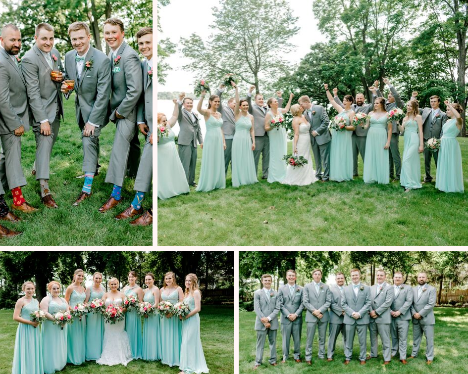 teal and pink wedding party photos from a lake club wedding at the Oconomowoc Lake Club in Wisconsin - Wedding planned by Natural Elegance LLC and Photo by Faith Photography.png
