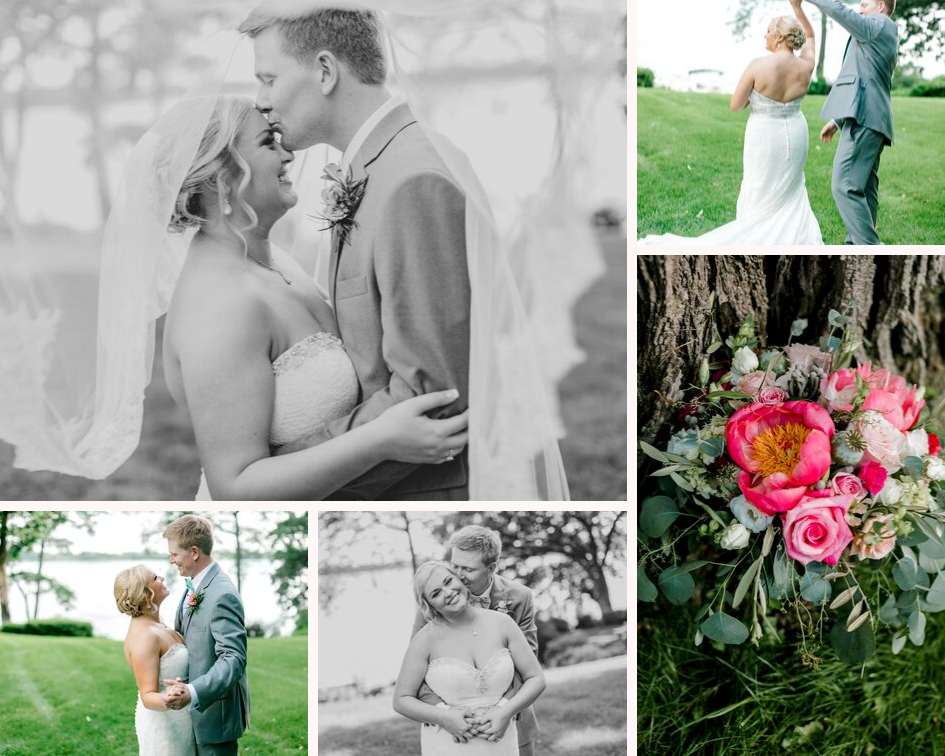 bride and groom wedding portraits from a lake club wedding at the Oconomowoc Lake Club in Wisconsin - Wedding planned by Natural Elegance LLC and Photo by Faith Photography.png