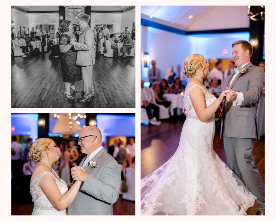 bride and groom first dance and family dances from a lake club wedding at the Oconomowoc Lake Club in Wisconsin - Wedding planned by Natural Elegance LLC and Photo by Faith Photography.png