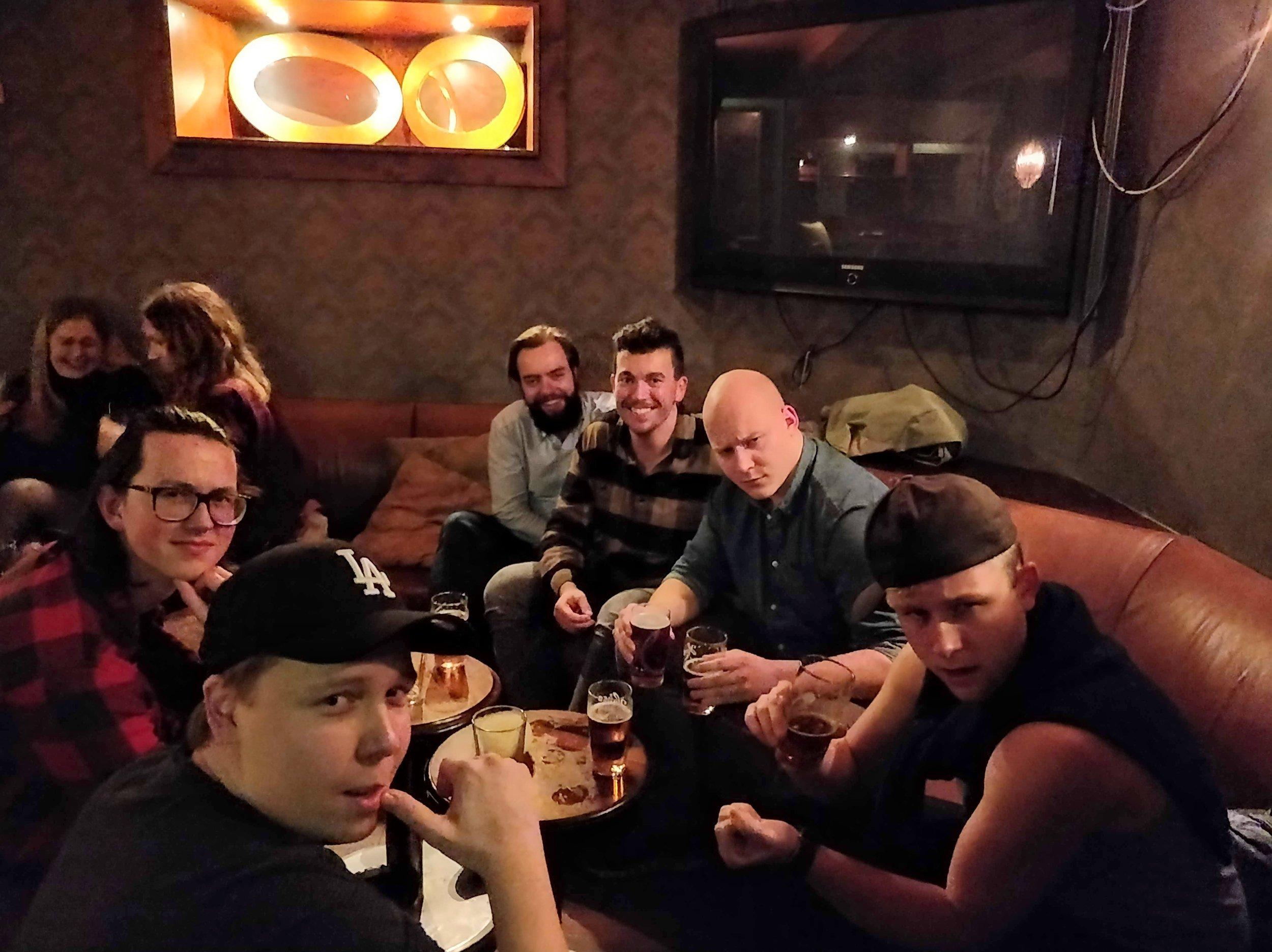 """At """"Biskopen"""" with the lads/På Biskopen med gutan  V>H/L>R: Eskild, Åsmund, Endre, Frode, Sindre, Toffee"""