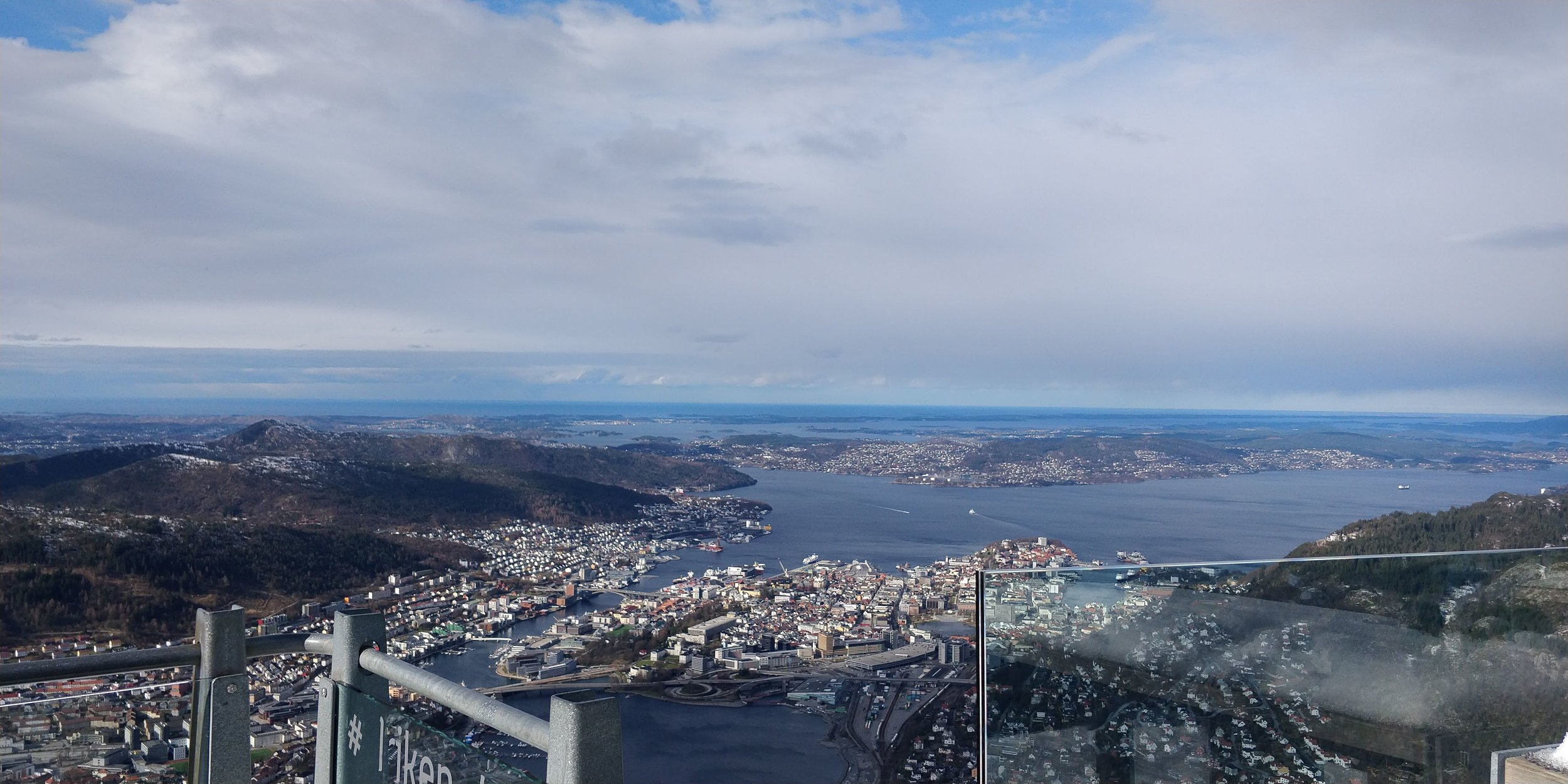 "Not a great photo with the glass, but here's a view from Ulriken! Ikkje eit særleg fantastisk bilete med glaset, men her er ein ""vy"" frå Ulriken!"