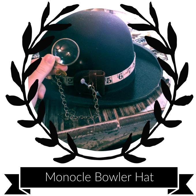 Supplies & Tools - Bowler hatSafety PinNeedle & ThreadRibbonSmall leather pouchMagnifying glassGame SpinnerClock GearJumps RingsPliersScissorsAwlPinsMedium-sized Bike Gear (from a cassette)