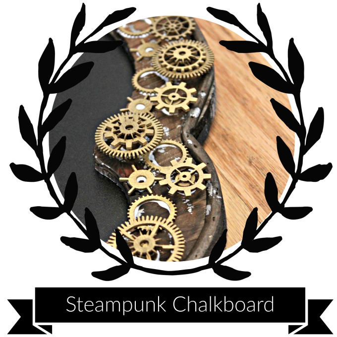 Supplies & Tools - Chalkboard (or you can get a cool frame, and paint it with chalkboard paint)Small wooden circle pieces (approx. 1/4″ thick)10-25 Wooden gears (various sizes) or more if you wishTacky Glue (or wood glue)Gold Metallic Spray PaintCardboard (to protect your surface when spray painting)Clips or clothespins